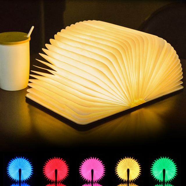5 Colors Creative RGB LED Book Lamp Wooden Portable Night Light 5V USB Rechargeable Magnetic Foldable Desk Lamp Home Decoration