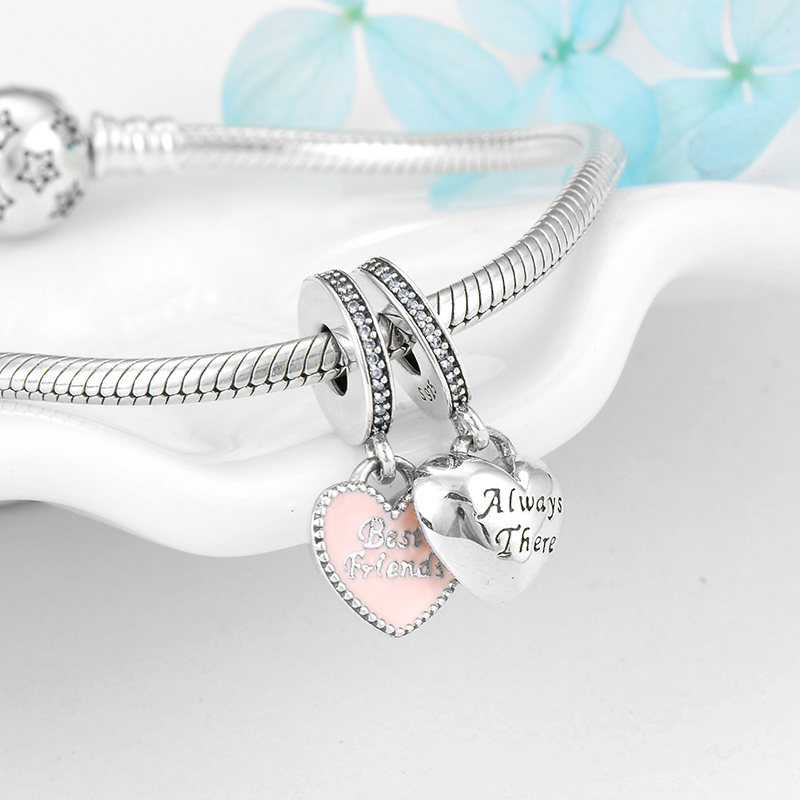 Best Friends 925 Sterling Silver Charms Bracelet Bead Friendship Heart Charm