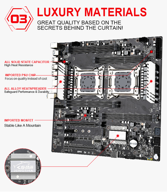 Double CPU X79 double S8 carte mère LGA-2011 prise en charge du double Intel E5 V1/V2 DDR3 1333/1600/1866MHz 256G M.2 NVME SATA3 USB 3.0