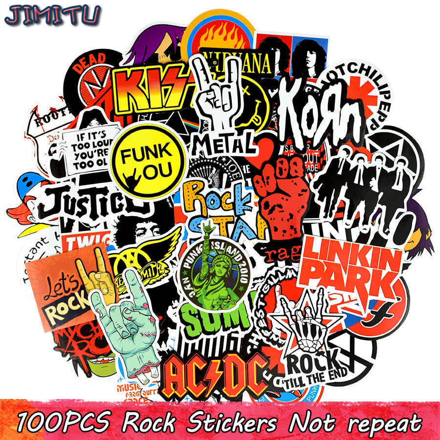 100 Pcs Rock Sticker Muziek Retro Band Graffiti Jdm Stickers Om Diy Gitaar Motorfiets Laptop Bagage Skateboard Auto Snowboard