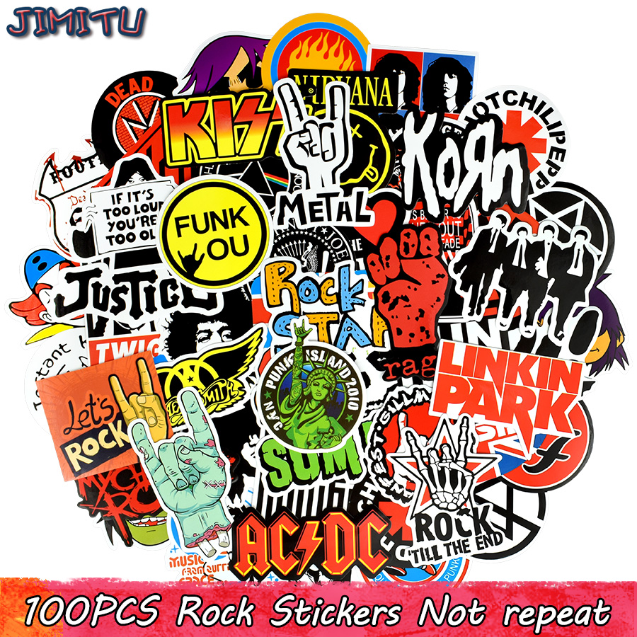 100 PCS Rock Sticker Music Retro Band Graffiti JDM Stickers To DIY Guitar Motorcycle Laptop Luggage Skateboard Car Snowboard