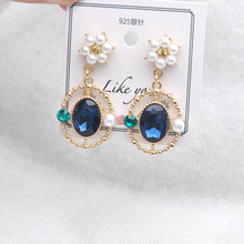 Baroque Style Flower Earrings Pearl  Geometry bohemian korean fashion trendy crystal earrings