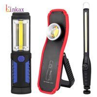 Przenośna latarka akumulatorowa LED COB USB latarka akumulatorowa światło robocze magnes awaryjna lampa kempingowa z wbudowaną baterią haczyk z magnesem