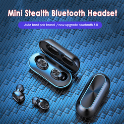 B5 Wireless Bluetooth Earphone 5.0 Touch Control TWS Bluetooth Earbuds Waterproof 9D Stereo Music Headset 300mAh Power Bank