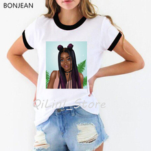 Melanin Poppin shirt cute casual black girl white tshirt women summer tops tee shirt femme harajuku shirt vogue t shirt female цены