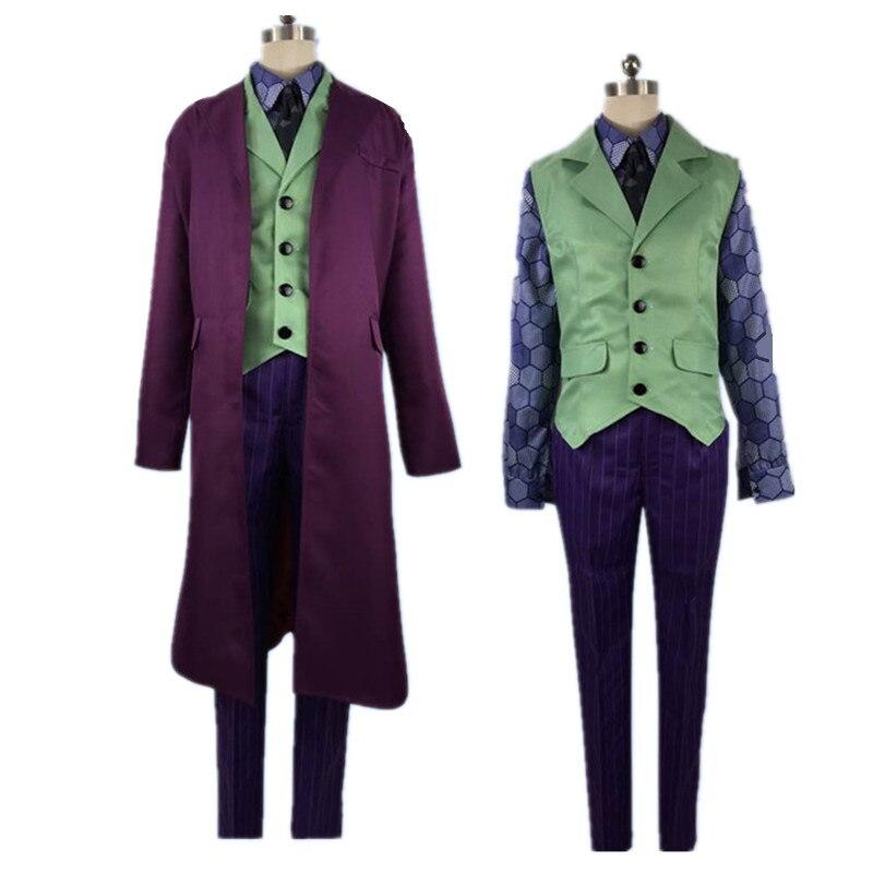 Le chevalier noir hommes Joker Costumes Heath Ledger chemise Costumes Cosplay Costumes violet veste ensembles complets toute taille