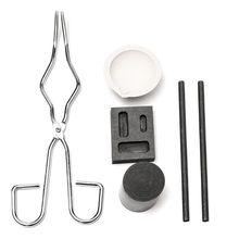 6pcs Graphite Crucible Set,Gold   Ingot Mold Set Jewelry Design Repair Tool Including High Purity Graphite Crucible