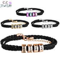 Personalized Family Names Bracelet Multiple Layers Braided Rope Titanium Steel Beads Leather Custom Bracelets & Bangle For Man