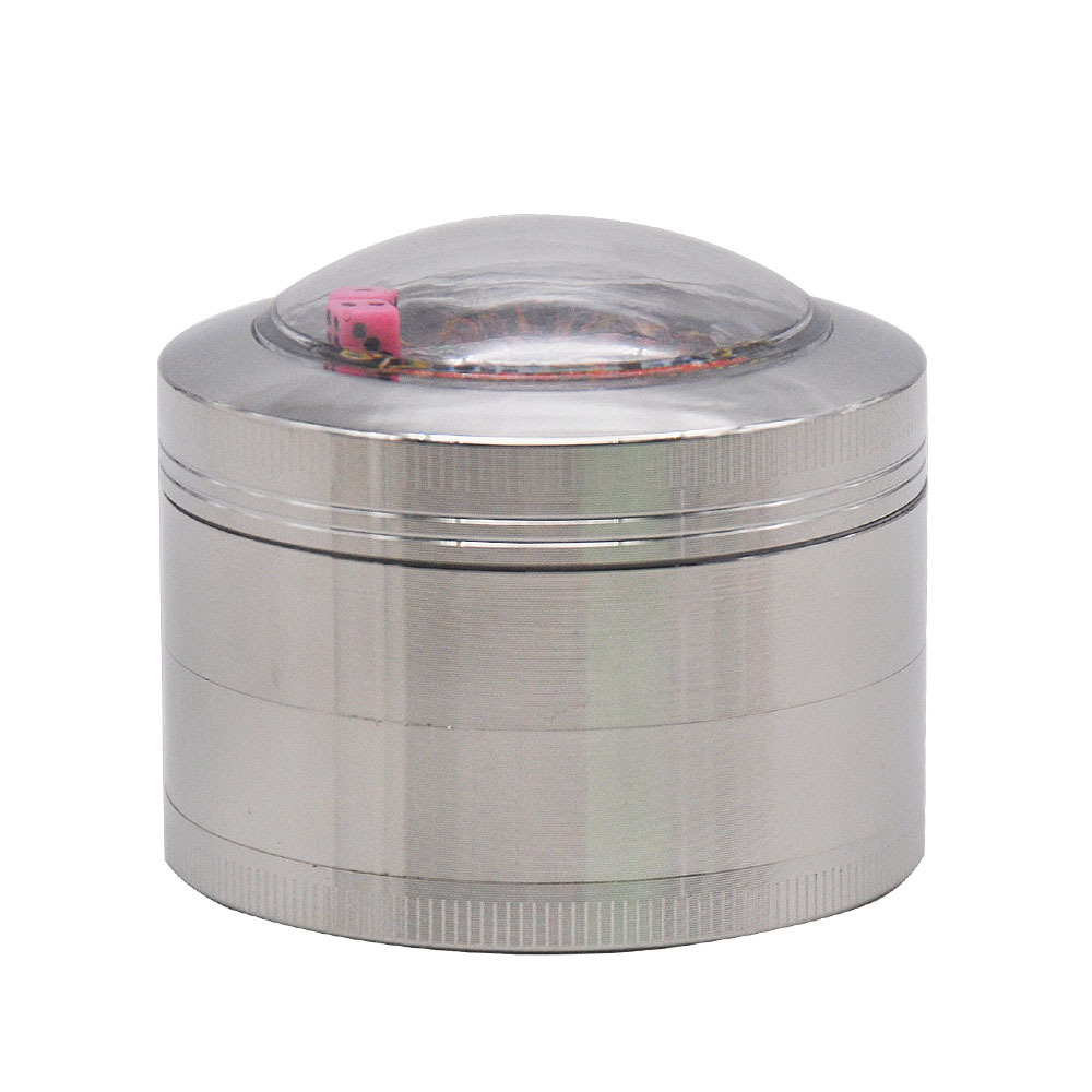 Zinc Alloy Smoking Herb Grinders With Dice Game Window 63MM 4 Piece Metal Tobacco Grinder Pollen Spice Crucher 5