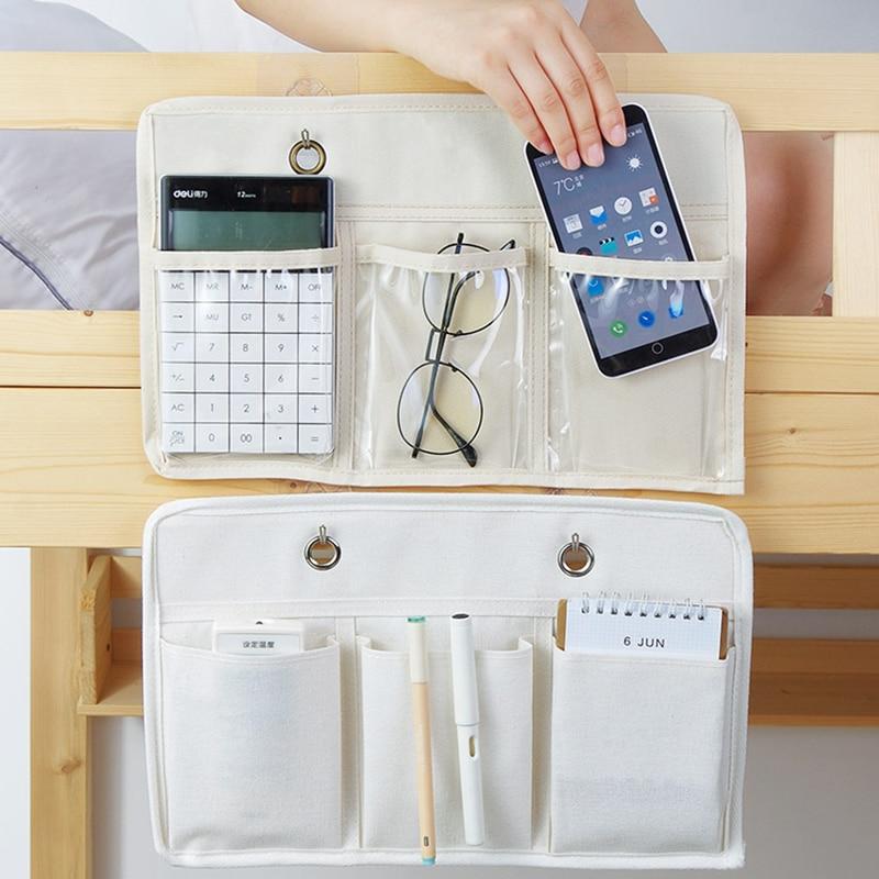 Sac de rangement suspendu au chevet du lit   Organisateur de rangement de dortoir, support de livre de téléphone, sac de rangement avec crochet, organisateur de poche pour lit