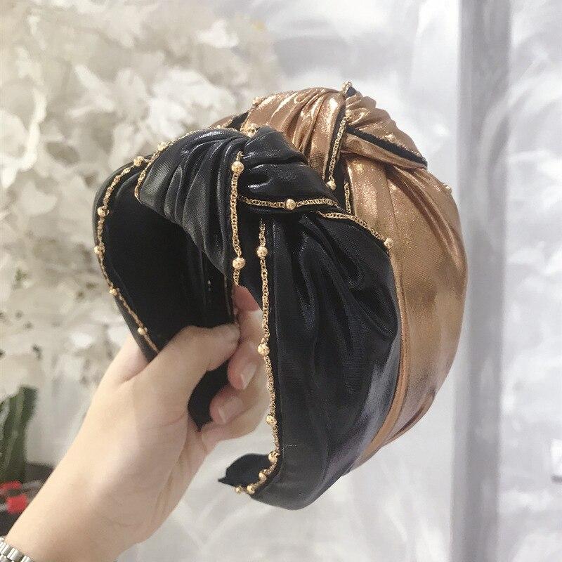 Повязка на голову из искусственной кожи с жемчужинами и цепочкой из сплава, повязка на голову с золотым кристаллом, аксессуары для волос для...