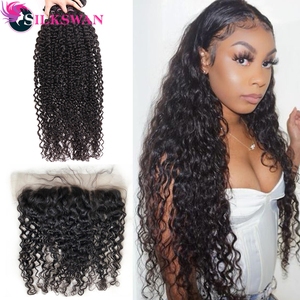 Bundles with Frontal 13*4 Ear to Ear Closure Silkswan Remy Hair Peruvian Water Wave Hair Double Weft Human Hair Extensions(China)