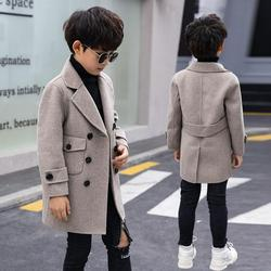 Fashion Winter Woolen Coat For 4-16 Boys 2019 New Turn Collar Double Breasted Big Pockets Solid Apricot Boy Coat High Quality