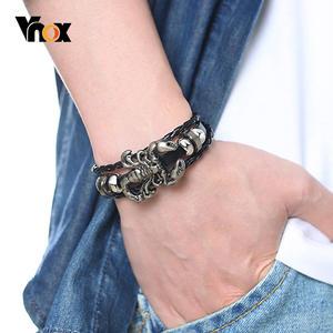 Vnox Vintage Scorpion Charm Bracelets for Men Layered Leather Bangle Gents Male Casual