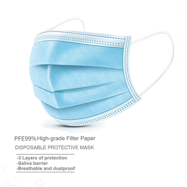 50pcs 3-Layer Protective Mask Face Disposable Mask Outdoor Mouth Mask Non Woven Anti-Dust Meltblown Masks 1