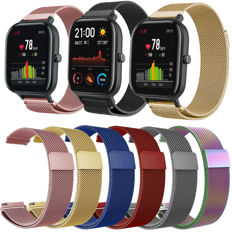 Milanese Loop Watch Band For Amazfit GTS Strap Gts Band Stainless Steel Milanese Band  Size Bands Strap 20mm 22mm Band