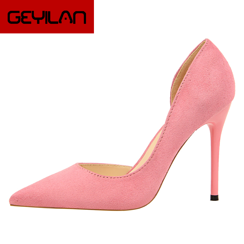 Fashion Sweet Women 10cm High Heels Pumps Female Sexy Pointed Toe Black Red Stiletto High Heels Lady Pink Green Shoes DS A0295 - 3