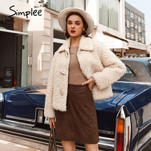 Women Coat Pink Faux-Fur Female Autumn Shaggy Winter Ladies Plush Warm Simplee Streetwear