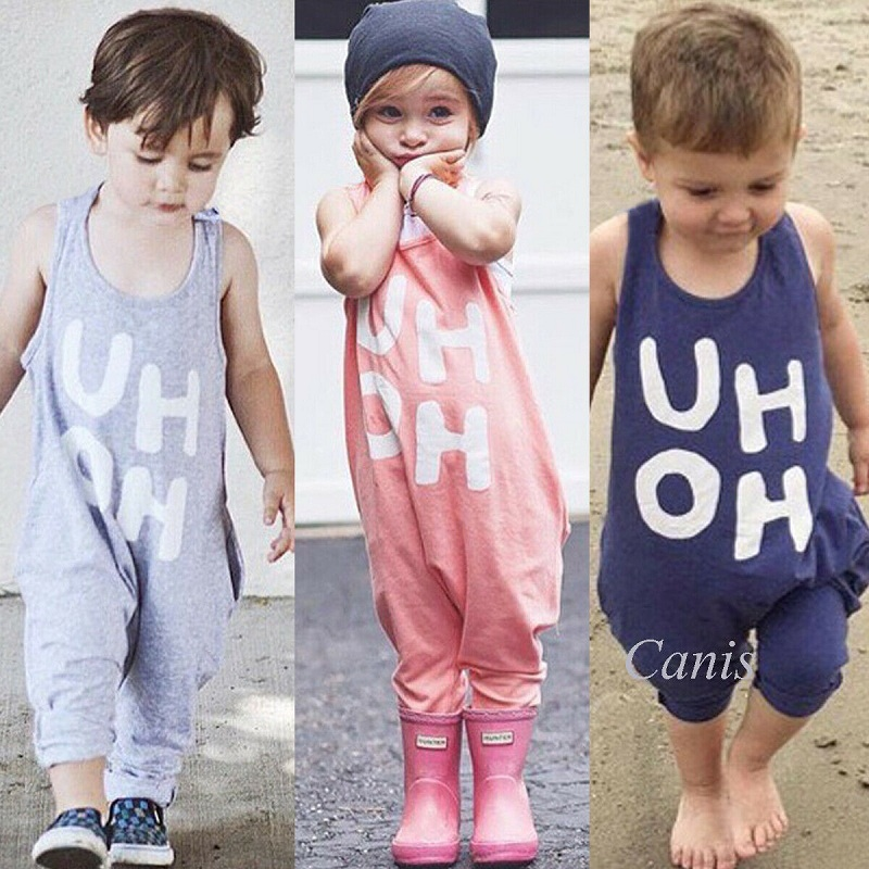 Girl Romper Overalls Jumpsuit Toddler Baby Boy Sleeveless Cute Fashion Summer Letter