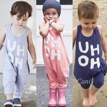 Cute toddler baby boy girl romper summer sleeveless overalls jumpsuit letters fashion clothes