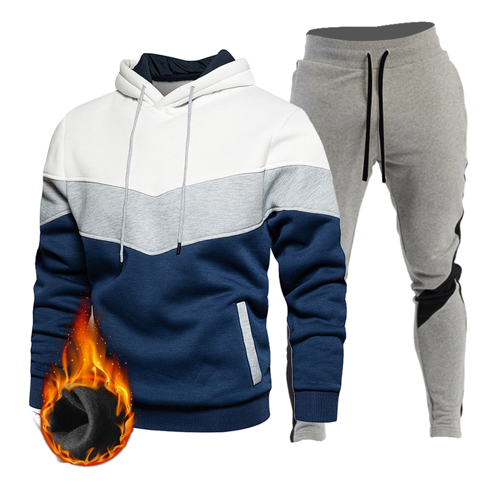 Sports Suit Men's Autumn And Winter Blue Fashion Color Matching Casual Sportswear Stitching Hooded Sweater Trousers Two-Piece