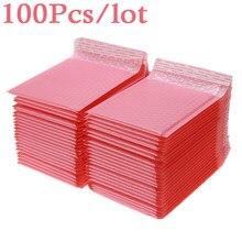 100 pçs bolha mailers envelopes acolchoados pérola filme presente correio envelope saco para revista livro forrado mailer auto selo rosa