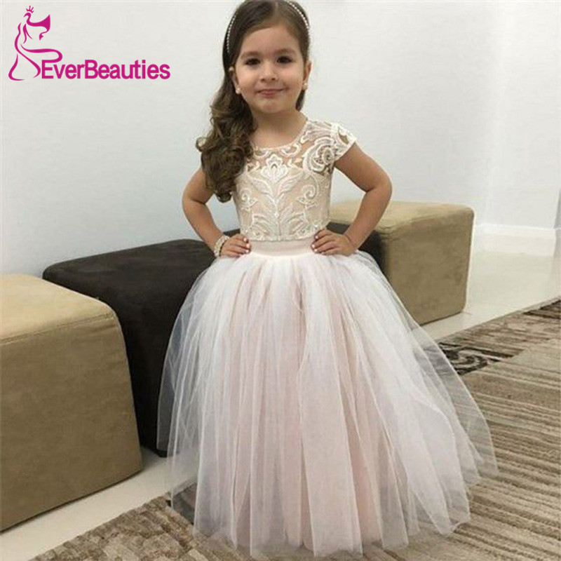 Short Sleeves Flower Girl Dresses 2020 Tulle Girl Party Dress Vestidos De Comunion Ball Gown Communion Dresses