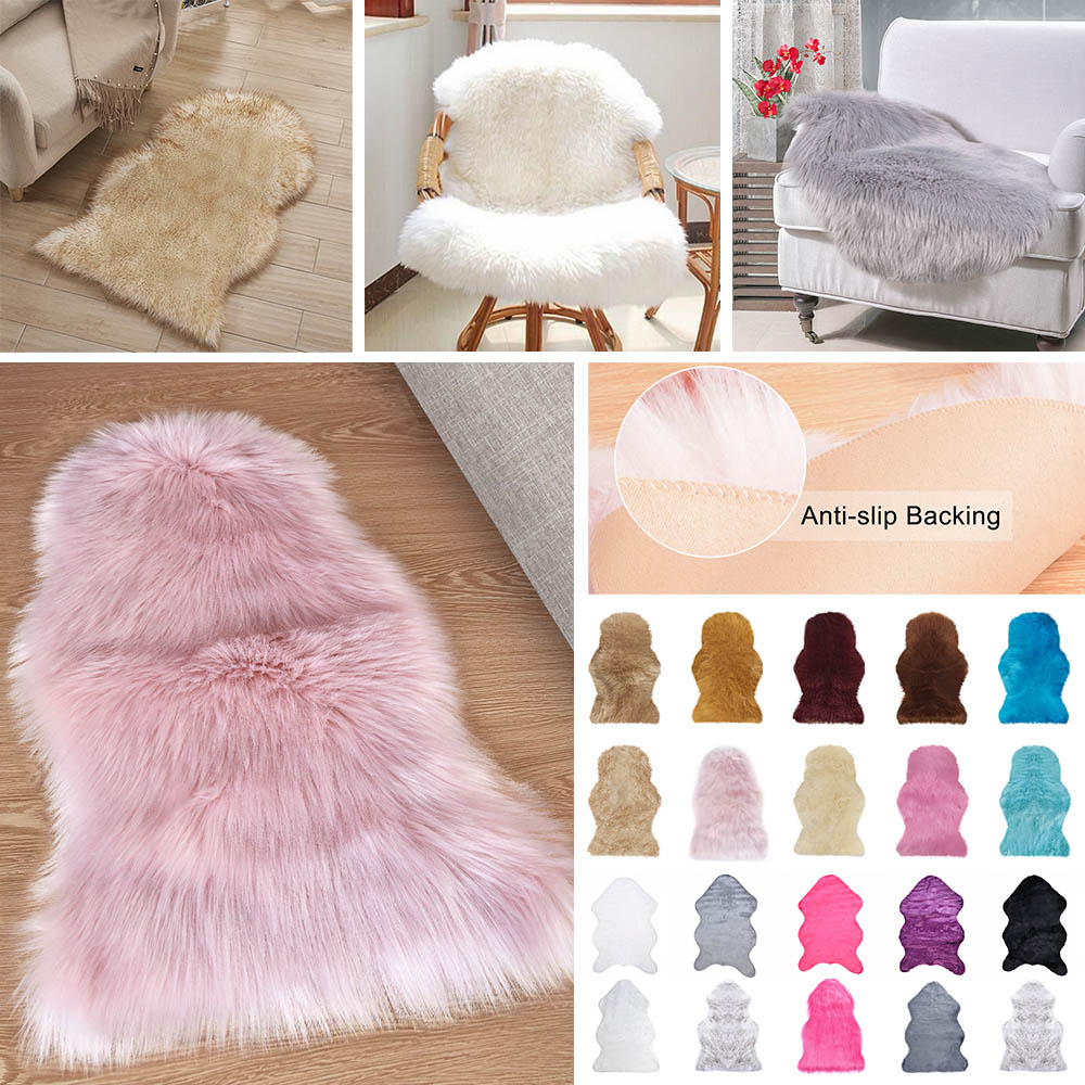 HQ 1pc Fur Artificial Sheepskin Hairy Carpet For Bedroom Living Room Skin Fur Plain Rugs Fluffy Area Rugs Washable Faux Mat