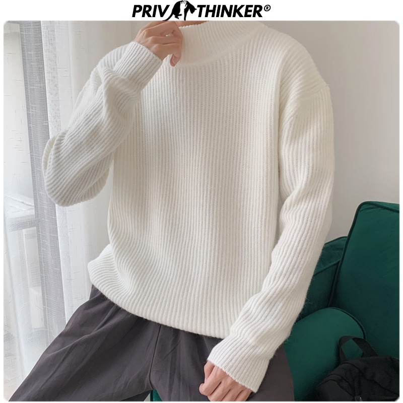 Privathinker 2019 Autumn 9 Colors Sweater Men Pullovers Tops Casual Male Knitted Solid Streetwear Mens Warm Sweater Fashions