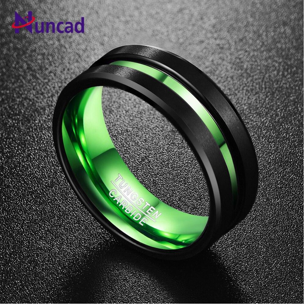 NUNCAD hommes noir mat finition carbure de tungstène anneau vert rainure centrale poli bords biseautés confort ajustement taille 6-16 T059R