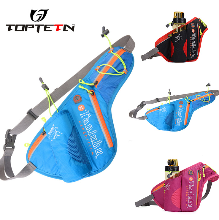 TOPTETN  Outdoor Trail Running Belt Bag Waist Backpack Water Bottle Holder Waterproof Marathon Jogging Belt Bag Pouch 2L