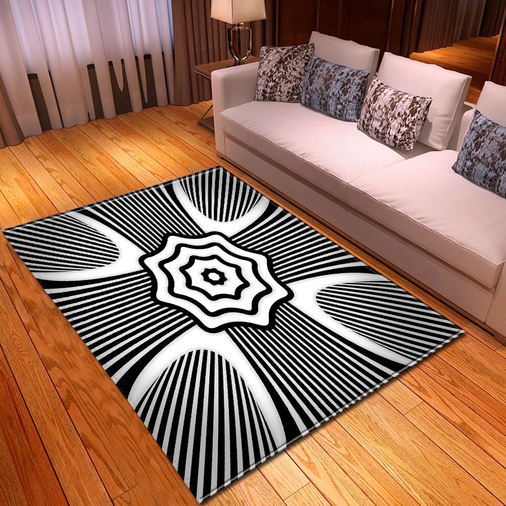 Nordic Geometric Black White Carpets Home Decor Bedside Area