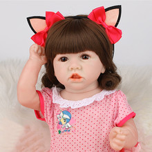 22'' Full Body Silicone Doll Reborn Baby Doll High Quality Pouting Baby Doll Soft Touch Rebirth Doll Babe Reborn Birthday Gift 55cm full silicone body rebirth crooked mouth doll simulation rebirth toddle baby doll toys children birthday presents
