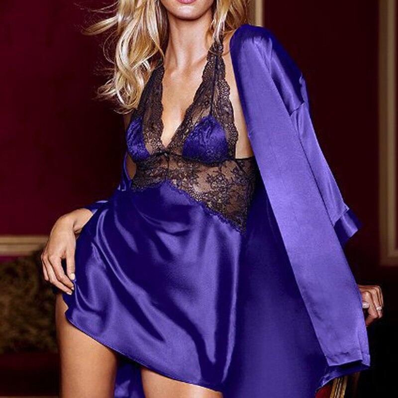 Sexy Satin Silk Night Dress Bathrobe Nightgown Sets 2020 Kimono Lingerie Nightwear Sleepwear Robe De