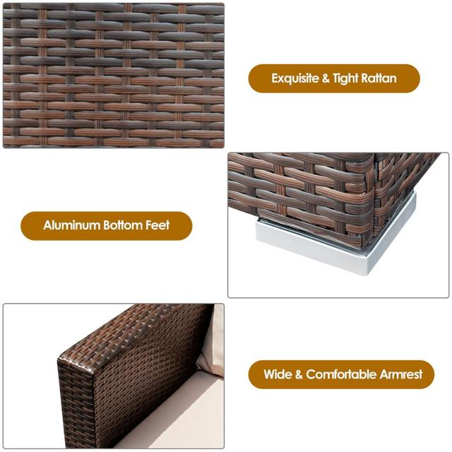 3PCS Patio Rattan Furniture Conversation Set  5