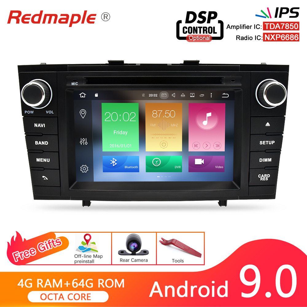 Octa Core Android 9.0 Car Radio DVD GPS Navigation Multimedia Player For <font><b>Toyota</b></font> Avensis <font><b>T27</b></font> 2009-2015 Auto Audio Stereo Headunit image