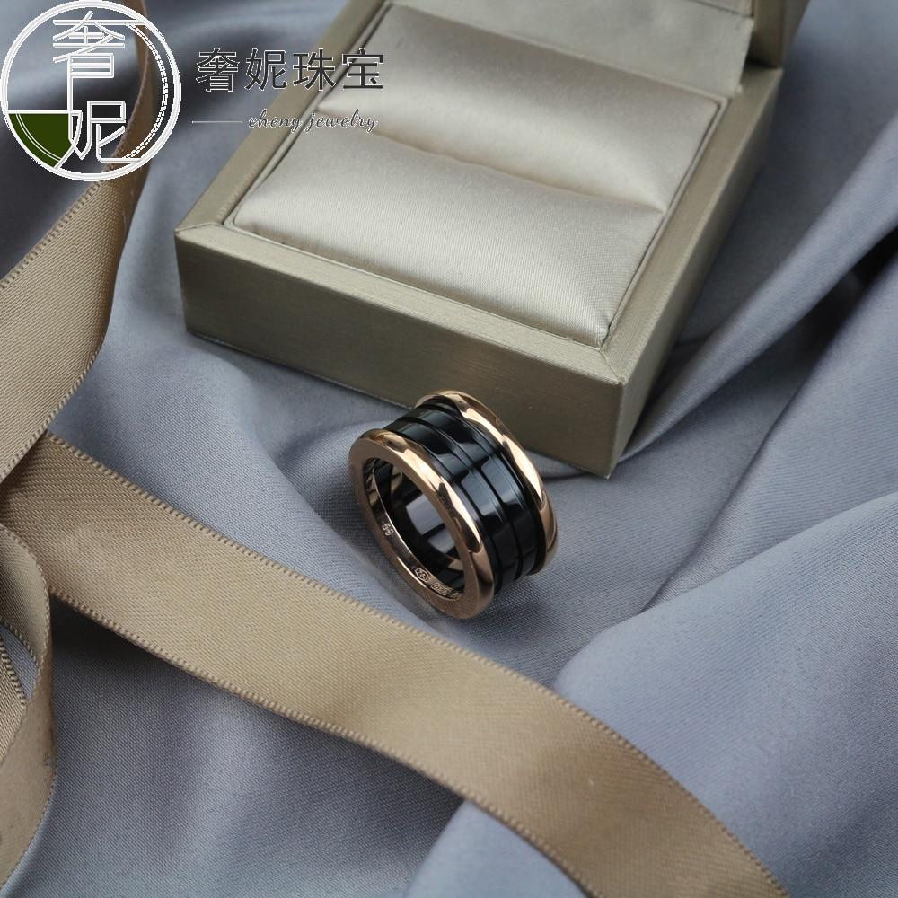 Bagues classiques en argent sterling s925 en céramique noire et blanche, bracelet de mariage en or à trois cercles pour couples, bijoux à la mode pour femmes