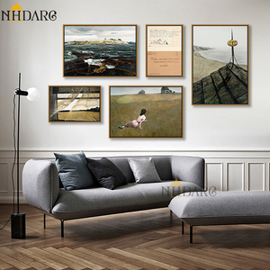 NHDARC Canvas Printings Paintings ARC00853 Andrew Wyeth Christina's World Seaside Scenery Posters for Living Room Home Decor(China)