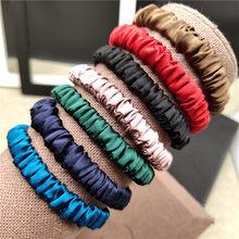 100% cabelo de seda pura scrunchie feminino pequenas faixas de cabelo bonito scrunchie seda pura vendido por um pacote de 3 peças