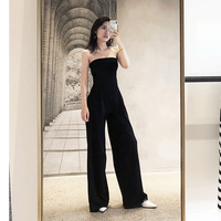 Women Runway Wide Leg Jumpsuits 2019 Fashion Elegant Strapless Long Rompers Jumpsuit Sexy Black Bodycon Bodysuit
