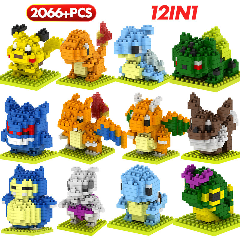 LOZ 12 In 1 Mini Pocket Toy Elf Building Blocks Cartoon Pikachu Monsters Anime Action Figures Bricks Educational Toys For Kids