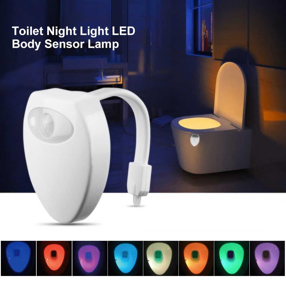 Светодиодный светильник для туалета, умный светильник с датчиком движения человека, Ночной светильник для ванной, автоматический активированный водонепроницаемый туалетный светильник, 8 цветов