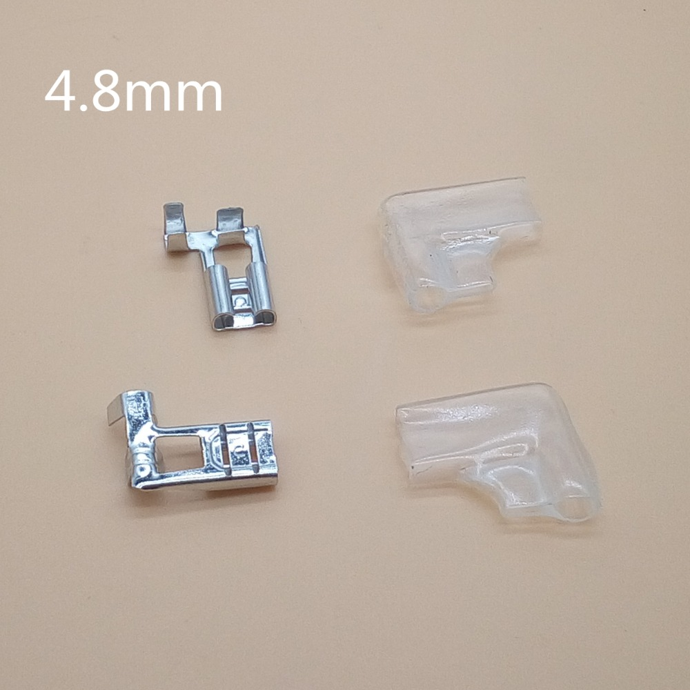 20set=40pcs 4.8mm 6.3mm Right Angle Flag L Type Crimp Terminal Spade Connector + Cover