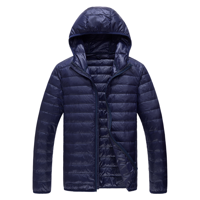Большой Размер M-5XL Высококачественная брендовая тонкая модная однотонная мужская повседневная куртка на утином пуху с капюшоном мужской п...