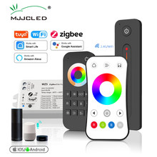 Mjjc tuya zigbee led controlador dc 12v 24v 15a 5 em 1 rgb cct rgbw rgbcct led tira luz controlador rf 2.4g wifi casa inteligente wz5