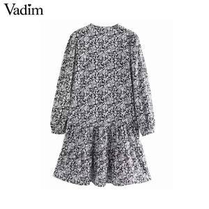 Image 2 - Vadim נשים רטרו הדפסת מיני שמלת V צוואר ארוך שרוול ישר סגנון נשי מזדמן בסיסי אופנה שמלות vestidos QD103