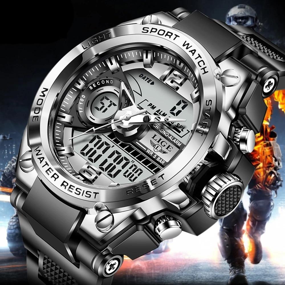 2021 LIGE Sport Men Quartz Digital Watch Creative Diving Watches Men Waterproof Alarm Watch Dual Display Clock Relogio Masculino 1