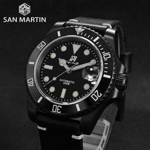 Image 2 - San Martin Diverนาฬิกาขัดสแตนเลสเซรามิคผู้ชายนาฬิกาSapphireสายหนังกันน้ำ