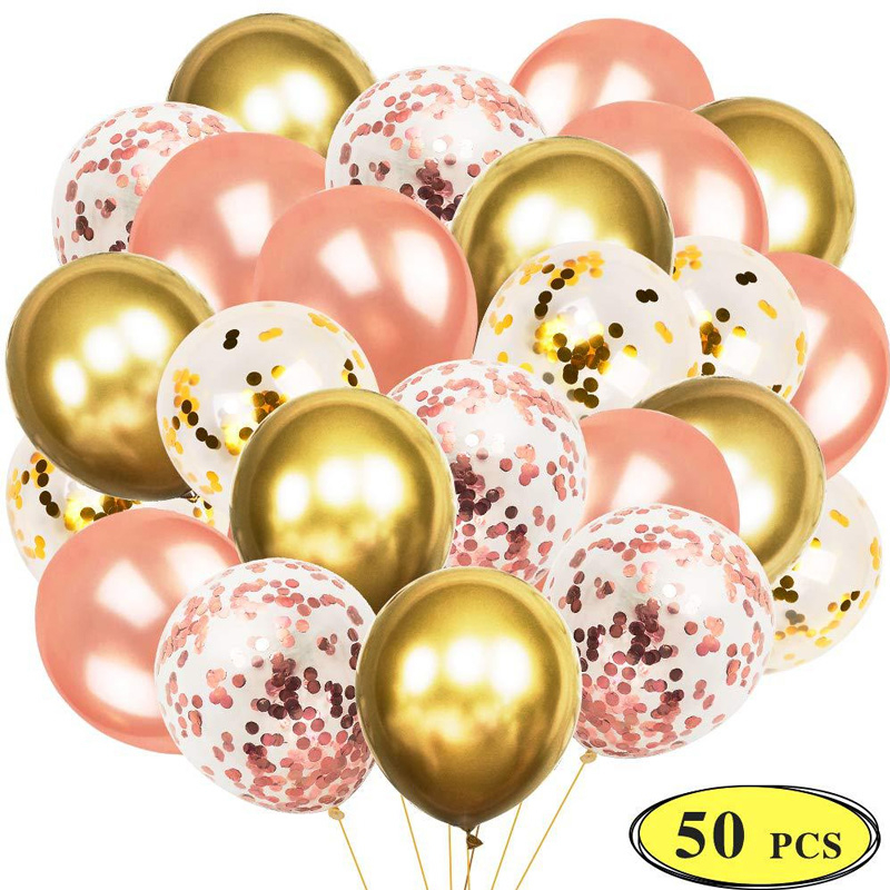 12inch Rose Gold Balloon Colorful Confetti Set Metallic Ballon Baby Shower Party Bridal Wedding Anniversary Decoration