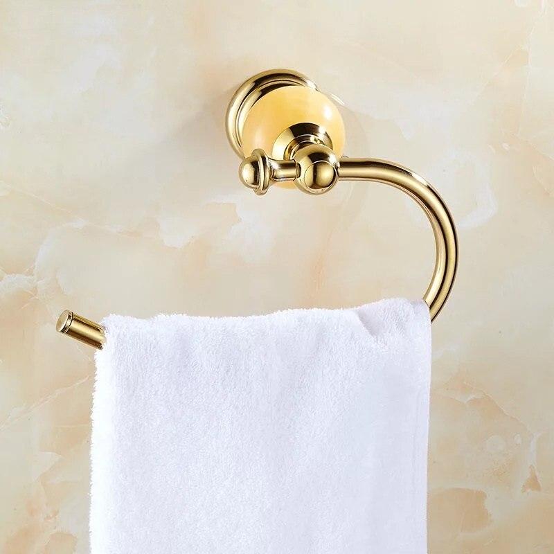 Твердый латунь золото полотенце держатель ванна полка полотенце вешалка вешалки люкс ванная аксессуары стена навесное полотенце штанга